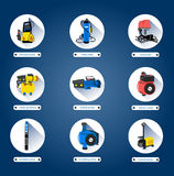Water pumps. Flat icons. Isolated on white background Royalty Free Stock Photo