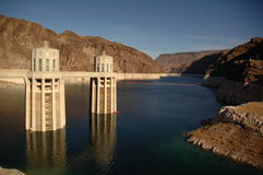 Water Pumps on Lake Mead. Wide Shot of Hoover Dam Pumps Stock Photography