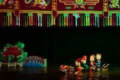 Water puppet show in Hanoi Vietnam. The legend of Hanoi sacred lake told using traditional, cultural water puppet Stock Photos