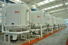 Water purification factory. Water purification technology (Reverse osmosis) used in the factory Royalty Free Stock Photo