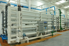 Water purification factory. Water purification technology (Reverse osmosis) used in the factory Royalty Free Stock Image