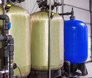 Water purification filter equipment in plant workshop.  Royalty Free Stock Photo