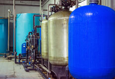 Water purification filter equipment in plant workshop.  Royalty Free Stock Image