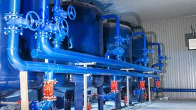 Water purification filter equipment in plant workshop.  Stock Images
