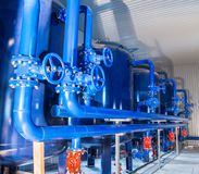 Water purification filter equipment in plant workshop.  Royalty Free Stock Photos