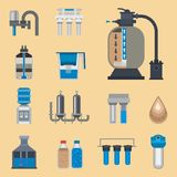 Water purification icon faucet fresh recycle pump astewater treatment collection vector illustration. Stock Image