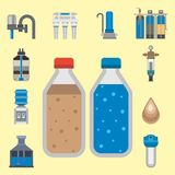 Water purification icon faucet fresh recycle pump astewater treatment collection vector illustration. Stock Images