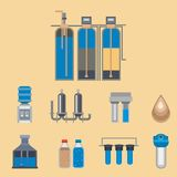 Water purification icon faucet fresh recycle pump astewater treatment collection vector illustration. Stock Photos