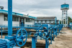 Water purification on industrial sewage treatment plant.  stock photos