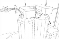 Water purification station. Industrial equipment. Tracing illustration of 3d Stock Images
