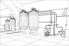 Water purification station. Industrial equipment. Tracing illustration of 3d Stock Photos