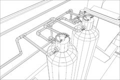 Water purification station. Industrial equipment. Tracing illustration of 3d Royalty Free Stock Image