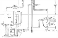Water purification station. Industrial equipment. Tracing illustration of 3d Royalty Free Stock Photo