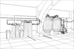 Water purification station. Industrial equipment. Tracing illustration of 3d Royalty Free Stock Photography