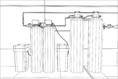 Water purification station. Industrial equipment. Tracing illustration of 3d Royalty Free Stock Photos