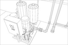 Water purification station. Industrial equipment. Tracing illustration of 3d Stock Photography