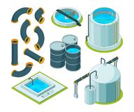 Water purification. Treatment watering cleaning system chemical laboratory vector isometric icons. Illustration of purification isometric system, reservoir vector illustration