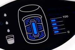 Water purifier display. Closeup filter indicator Blue LED of water purifier Stock Image