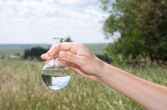 Water Purity Test. Liquid in laboratory glassware Royalty Free Stock Image