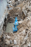 Water PVC Plastic Pipes in Ground during Plumbing Construction Royalty Free Stock Images