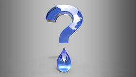 Water Question Mark 3D Illustration Royalty Free Stock Images