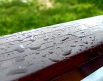 Rain drop on wood meadow background stock photo