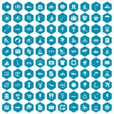 100 water recreation icons sapphirine violet. 100 water recreation icons set in sapphirine hexagon isolated vector illustration Stock Image