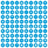 100 water recreation icons set blue. 100 water recreation icons set in blue hexagon isolated vector illustration Royalty Free Stock Image