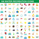 100 water recreation icons set, cartoon style Royalty Free Stock Photos