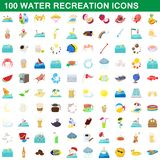 100 water recreation icons set, cartoon style. 100 water recreation icons set in cartoon style for any design illustration vector illustration