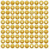 100 water recreation icons set gold. 100 water recreation icons set in gold circle isolated on white vector illustration Royalty Free Illustration
