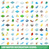 100 water recreation icons set, isometric 3d style. 100 water recreation icons set in isometric 3d style for any design illustration royalty free illustration