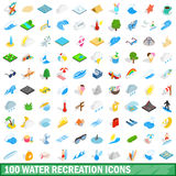 100 water recreation icons set, isometric 3d style. 100 water recreation icons set in isometric 3d style for any design vector illustration Stock Photography