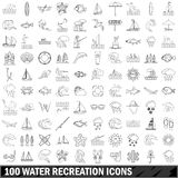 100 water recreation  icons set, outline style Royalty Free Stock Images