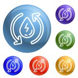 Water recycling energy icons set vector royalty free illustration