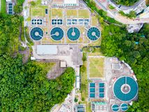 Water recycling in large sewage treatment plant. royalty free stock photo