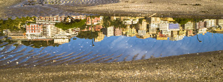 Water reflection on the beach of Naples Stock Images