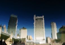 Water reflection of Boston skyline. Boston skyscrapers reflected on  water surface Stock Photo