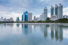 Water Reflection of city building in the park Royalty Free Stock Image