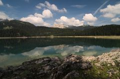 A water reflection in the Crno jezero, Montenegro royalty free stock images