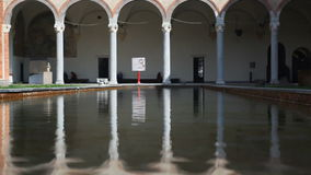 Water Reflection Inside Castello Sforzesco Public Area In Milan Italy stock video footage