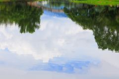 Water reflection landscape in public park background.  Stock Photography