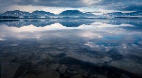 Water reflection at Liptovska Mara, Slovakia Royalty Free Stock Photos