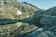 Water reflection of the mountains,on the Great Saint Bernard Pass Royalty Free Stock Photos