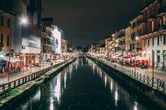 Night Navigli in Milan, Italy. River reflecting the night street royalty free stock photos