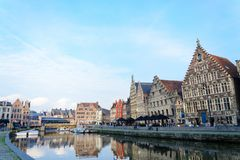 Water reflection on the river bank in Ghent. In a panoramic view royalty free stock images