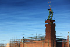 Water reflection of Stockholm City Hall Royalty Free Stock Photo