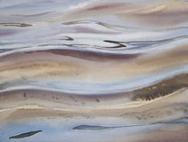 Water reflection sun watercolor. Sea view background. Blue sea or ocean transparent shallow water over pebble bottom of stony beach coast. Wave is incident on Royalty Free Stock Photography