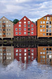 Water reflection of Trondheim houses Stock Image