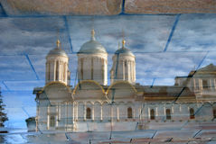 Water reflection of Twelve apostles church of Moscow Kremlin. Color photo. Stock Image